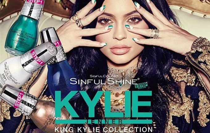 Kylie Jenner poses for Sinful Shine nail polish