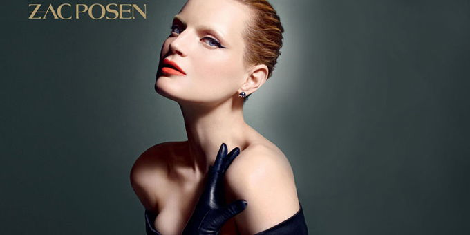 Model poses for Zac Posen and Mac Cosmetics collaboration