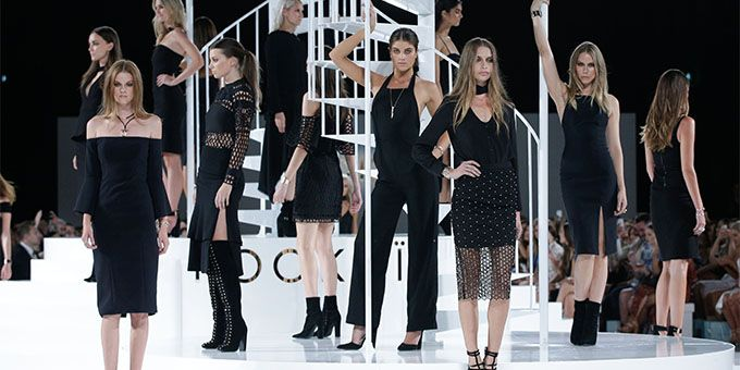 Models in all black at Kookai AW16 show