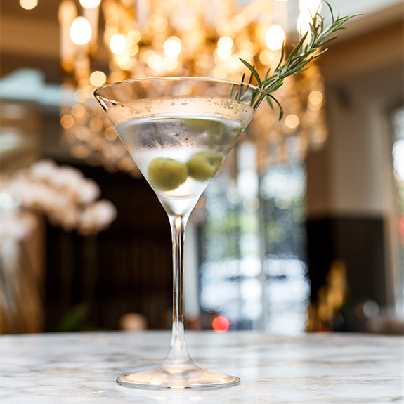 Smoked Rosemary & Olive Martini