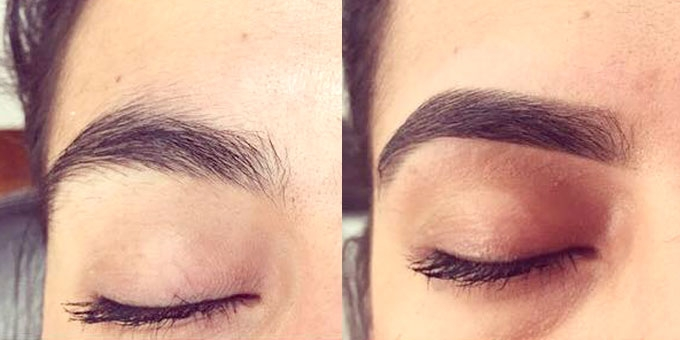 HoneyTusk eyebrow before and after
