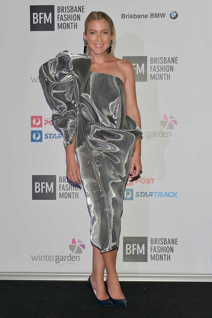 House of Ezis's designer, Andrzej K Pytel created a bespoke dress for Brisbane Fashion Month's Founder, Carly Vidal-Wallace and she undoubtedly stole the spotlight.