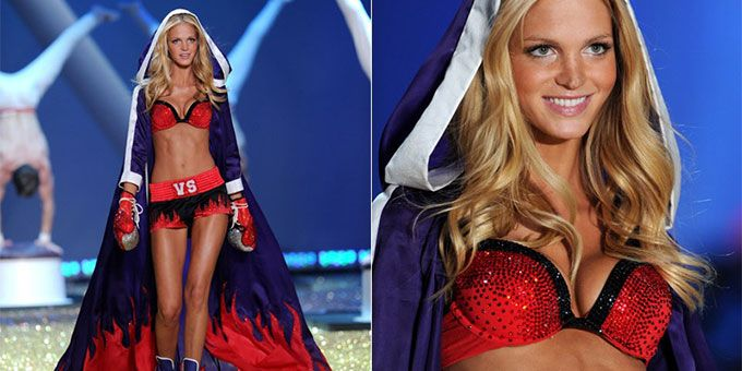Erin Heatherton walks in Victoria's Secret fashion show and reveals body struggles via instagram | Wears red lingerie, blonde curls, cape, tanned body,