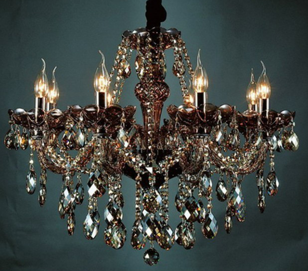 Chandelier Light Eight Champagne Finish Crystal, $941.00