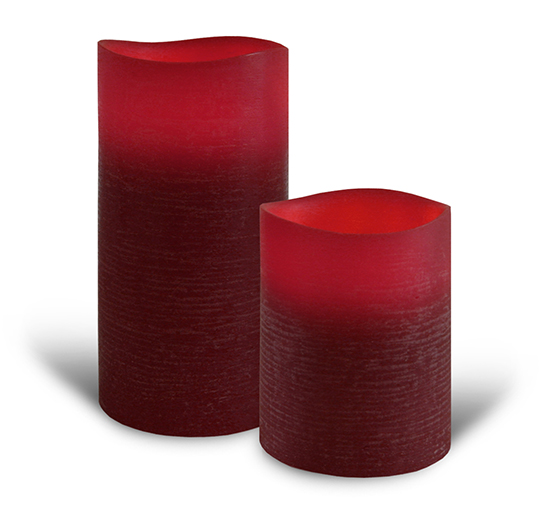 Flameless Candle LED Wax Ruby Red Distressed - Enjoy Lighting