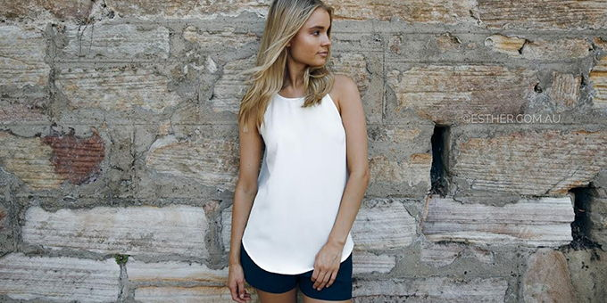Online store Esther Boutique Esther Essentials clothing range white cami and navy shorts