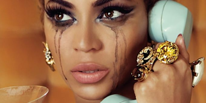 Beyonce crying on the phone