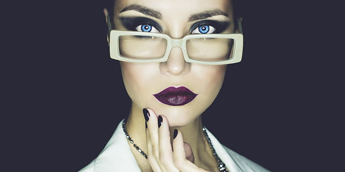 Girl with amazing makeup and glasses