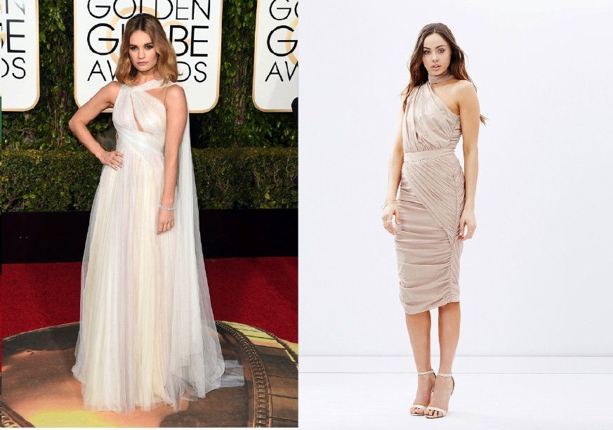 Lily James Golden Globes Fashion