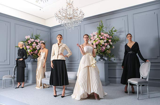 National Gallery of Victoria and House of Dior announce House of Dior: Seventy Years of Haute Couture at NGV International, August 2017. Models (left to right): Sandra Sundelin, Alejandra Zuluaga, Ella Bond, Maddison Lukes, Bela Pelacio Hazewinkel. Photo: Wayne Taylor