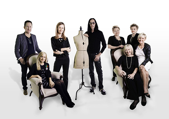 Group photo of Brisbane Arcade's 2014 Mercedes-Benz Fashion Festival designers attached.  Caption/names from left to right:     Daniel Lightfoot (Daniel Lightfoot Designs), Deanne Mayocchi (Maiocchi), Kirstyne Walsh (Bora), Brad Webb (Darb Bridal Couture), Marabeth and Bronwyn Smith (Irma J Smith House of Fashion), Pia du Pradal (Pia du Pradal) and Julie Tengdahl (Tengdahl Australia)