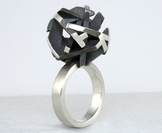 Negative/Positive oxidized 3D printed ring by Fairina Cheng