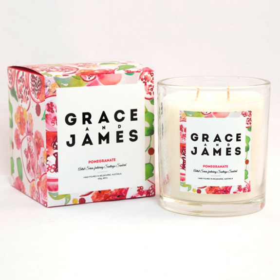 Pomegranate Candle - Grace and James, $49.95 from Hunting for George