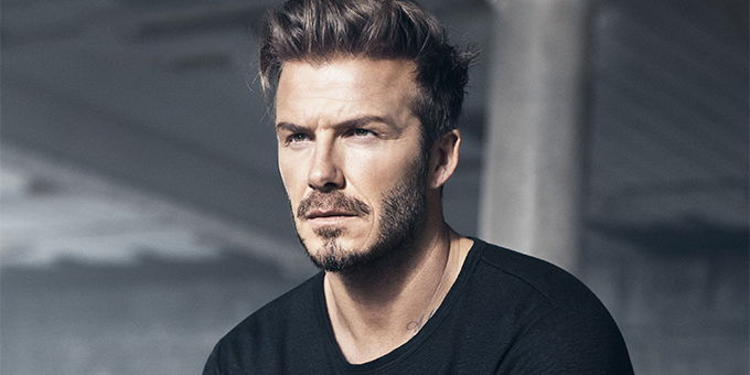 David Beckham modelling with facial hair