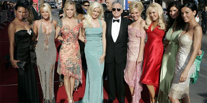 Hef with Playboy bunnies