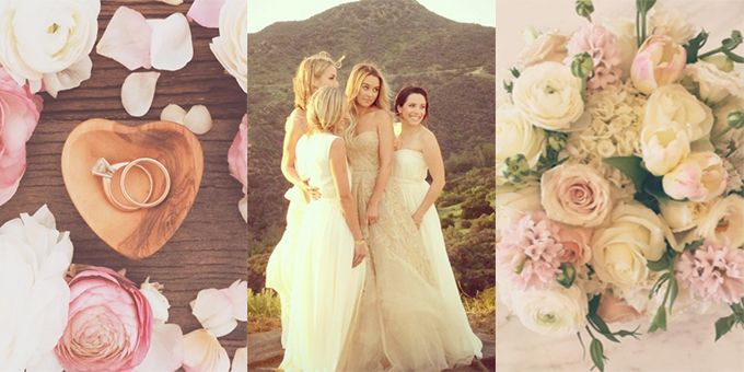 Gorgeous rings, flowers and bridesmaids at a wedding