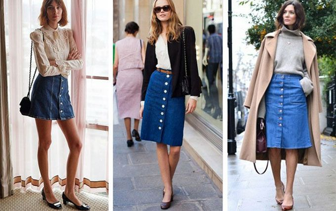 A-line button denim midi skirt by alexa chung and other street style influencers