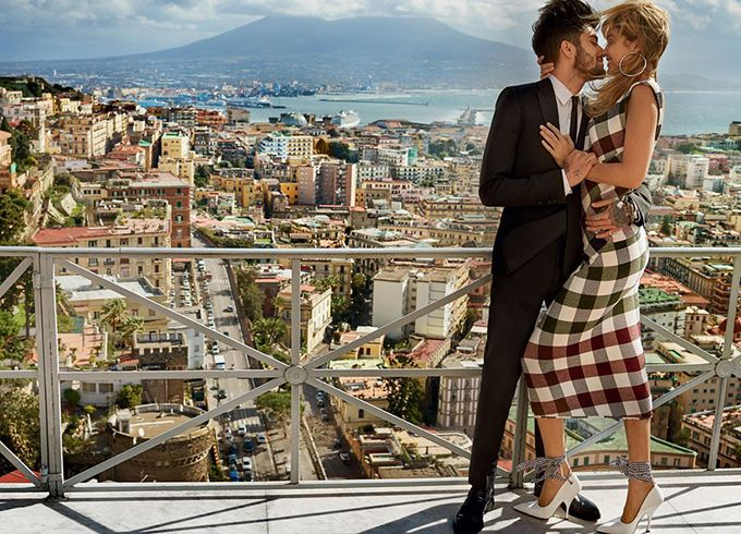 Zayn Malik & Gigi Hadid photographed in Italy by Mario Testino for Vogue Photoshoot wearing black tux and high heels