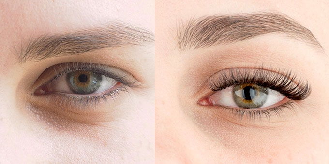 The Lash Lounge eyelash extension before and after