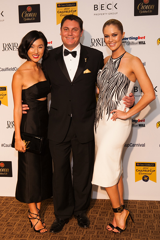 Nicole Warne, Brodie Arnhold and Scherri-Lee Biggs attend the Crown Golden Ale Caulfield Cup Carnival Gala Launch